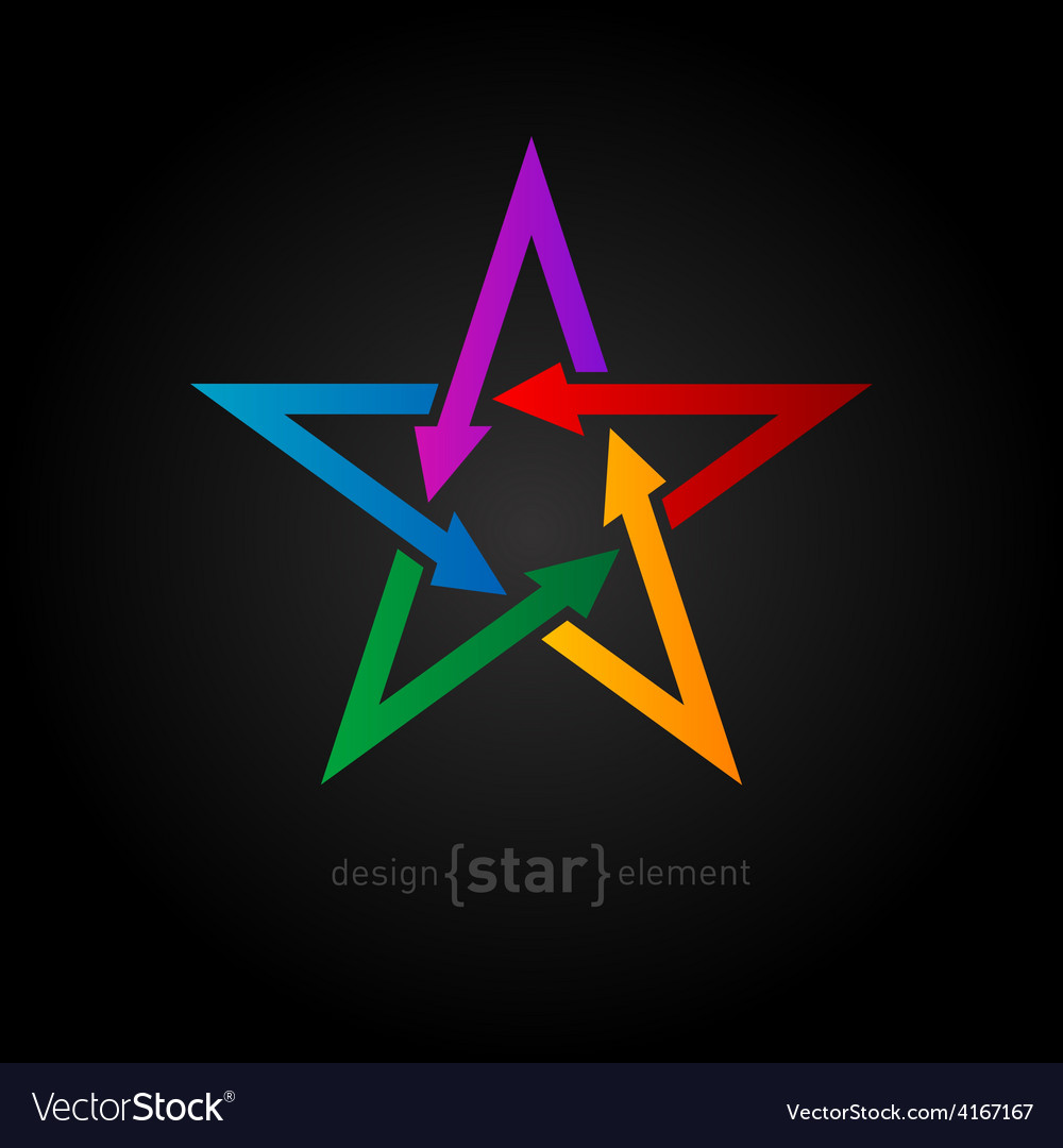 Star with arrows on black background abstract vector | Price: 1 Credit (USD $1)