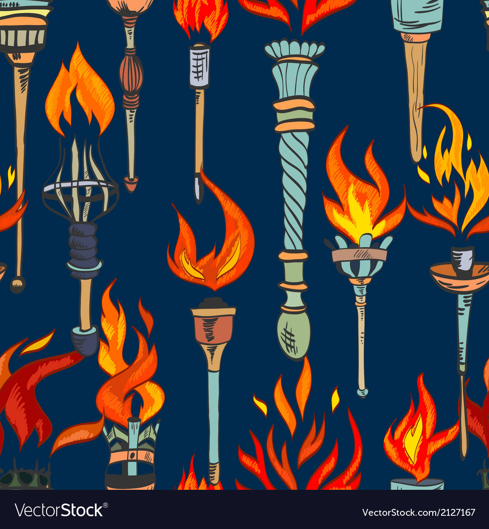 Torch sketch seamless pattern vector   Price: 1 Credit (USD $1)