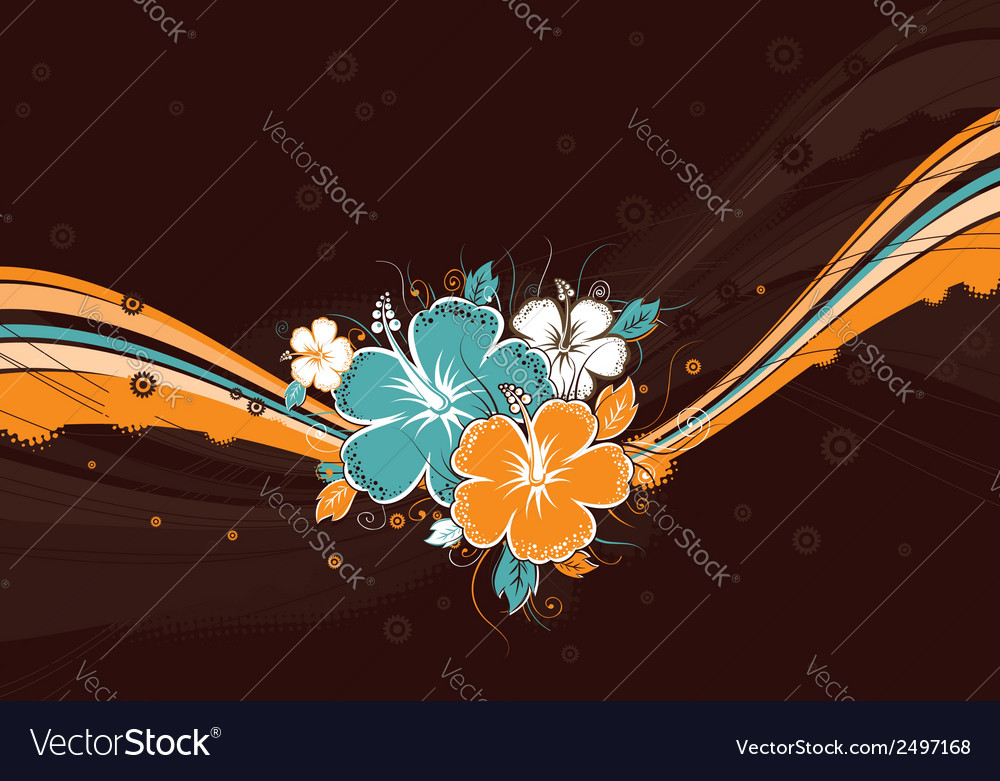 Bouquet of hibiscus on brown background vector   Price: 1 Credit (USD $1)