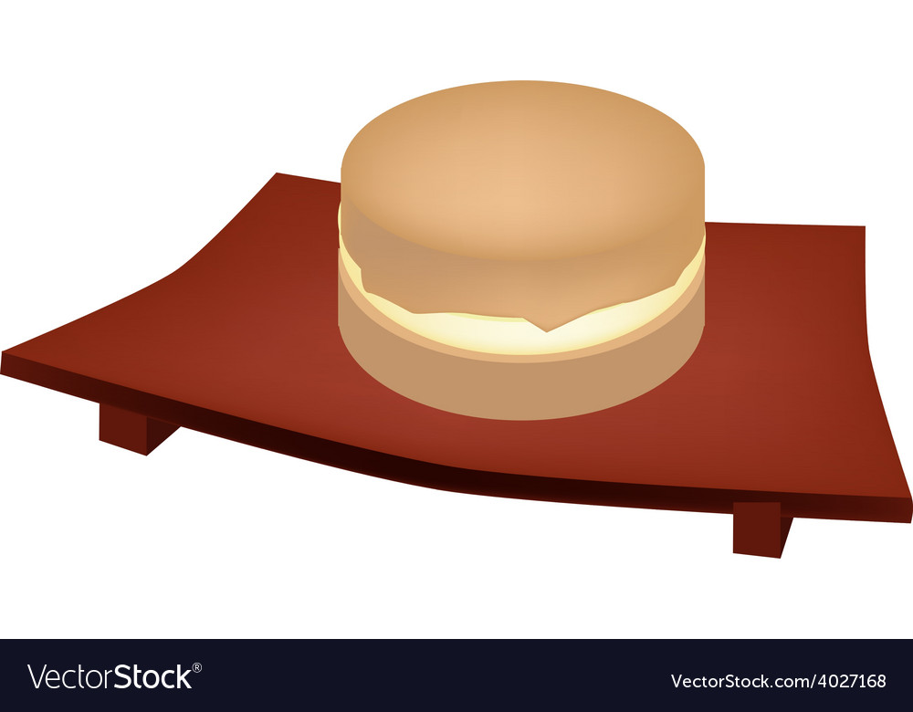 Imagawayaki red bean pancake on geta plate vector | Price: 1 Credit (USD $1)