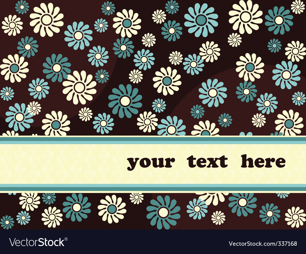 Retro banner with blue flowers vector | Price: 1 Credit (USD $1)