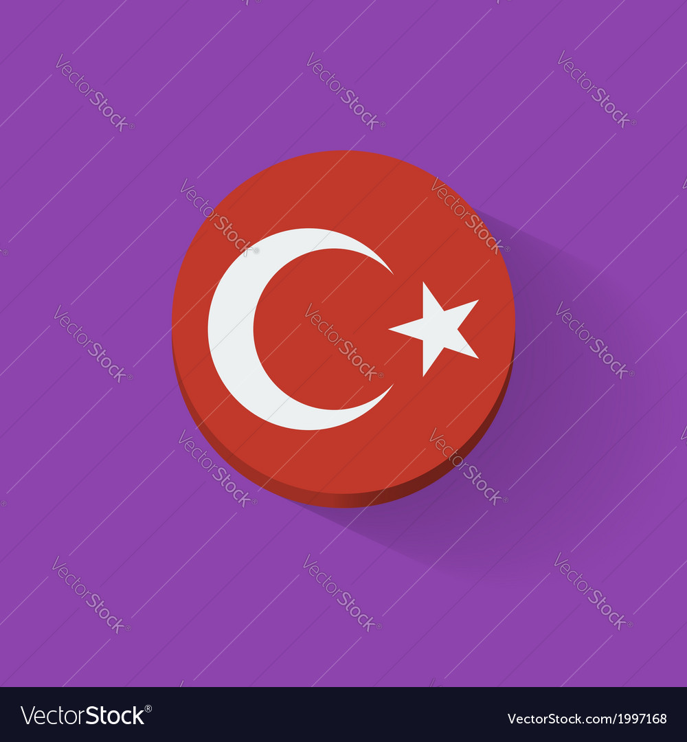 Round icon with flag of turkey vector | Price: 1 Credit (USD $1)
