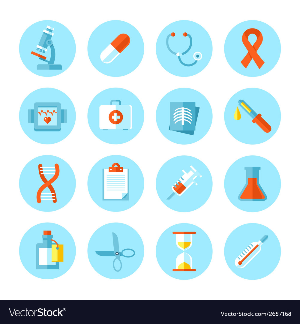 Set of flat medical icons vector | Price: 1 Credit (USD $1)