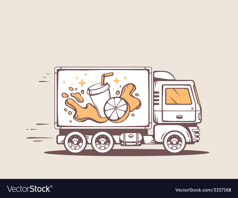 Truck free and fast delivering fresh frui vector | Price: 3 Credit (USD $3)