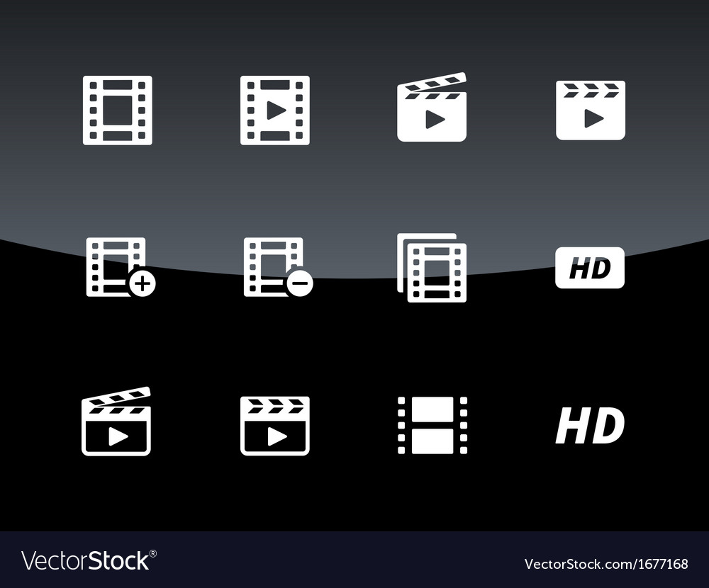 Video icons on black background vector | Price: 1 Credit (USD $1)
