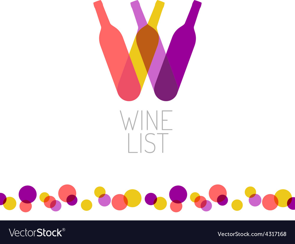Wine list restaurant menu title transparent style vector | Price: 1 Credit (USD $1)