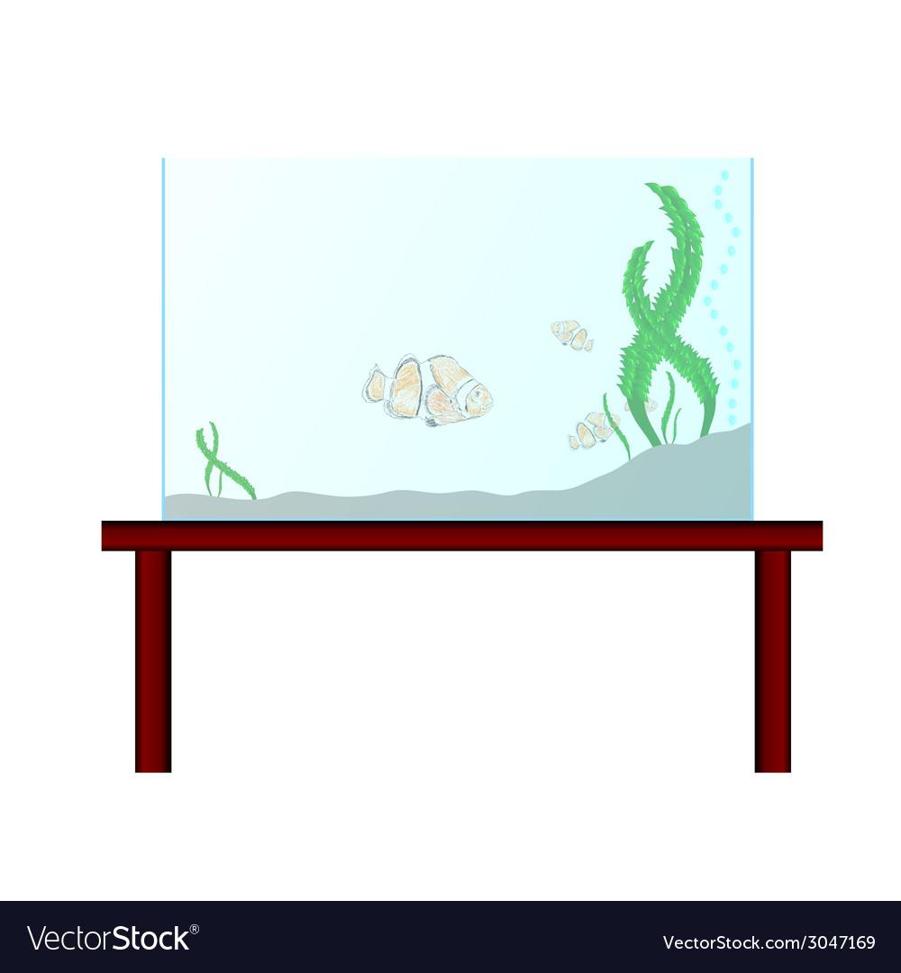 Aquarium on the table with exotic fish vector | Price: 1 Credit (USD $1)