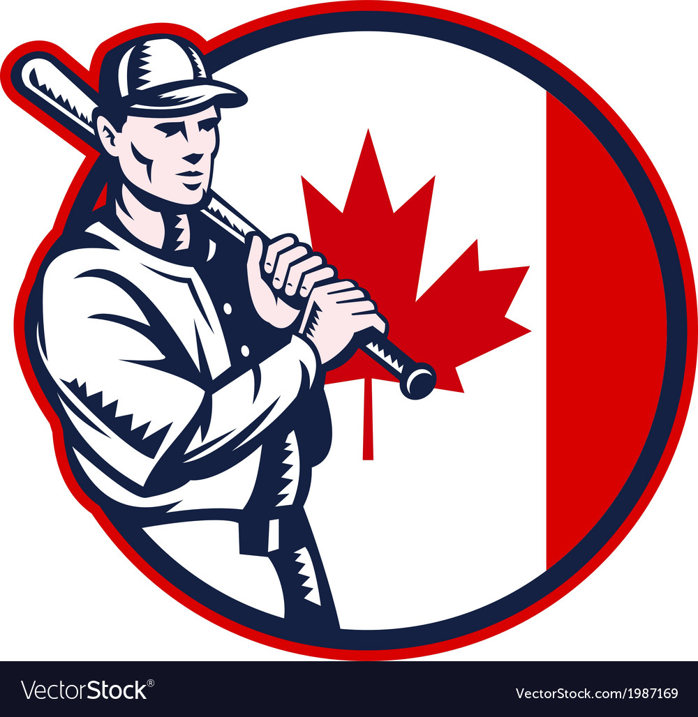 Canadian baseball batter canada flag circle vector | Price: 1 Credit (USD $1)
