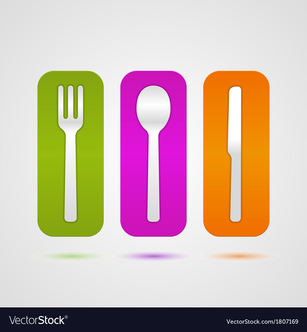 Colorful cutlery icon vector | Price: 1 Credit (USD $1)