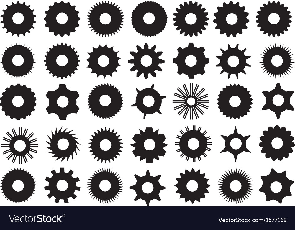 Different gear shapes vector | Price: 1 Credit (USD $1)