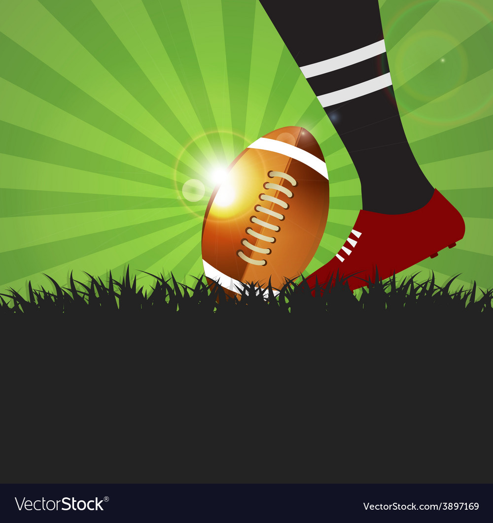 Football or rugby player with ball on grass vector | Price: 1 Credit (USD $1)
