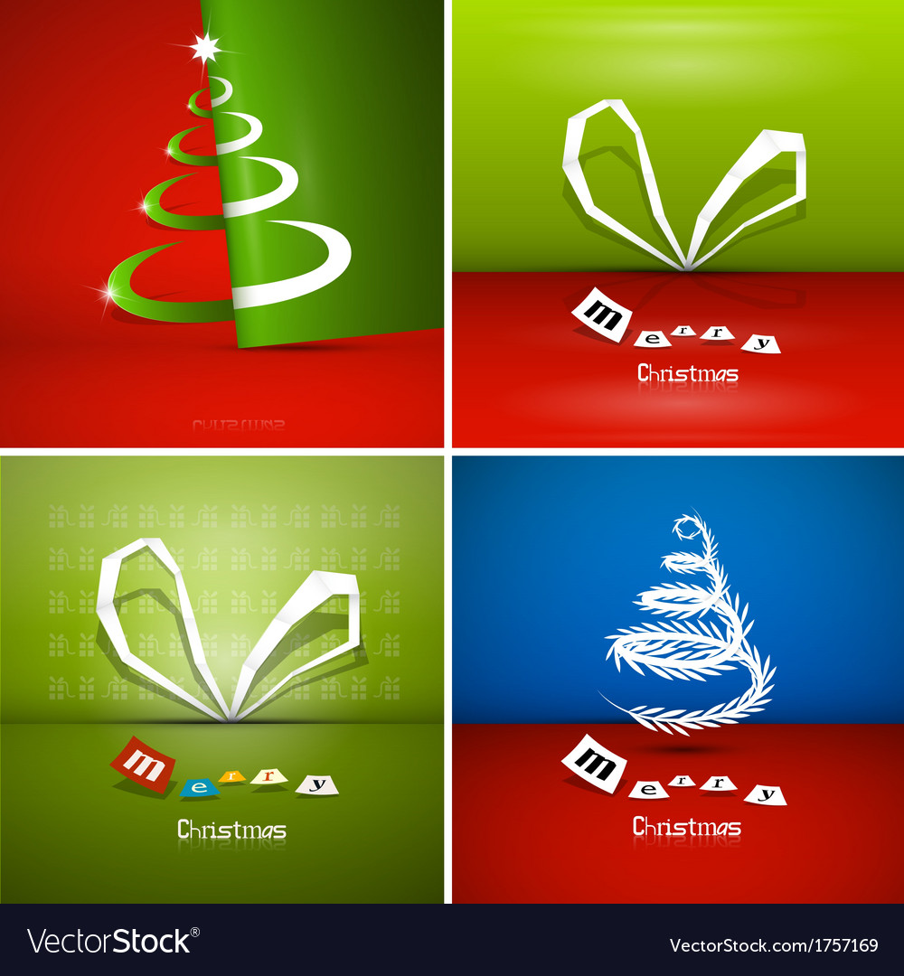 Four abstract christmas background sets vector | Price: 1 Credit (USD $1)