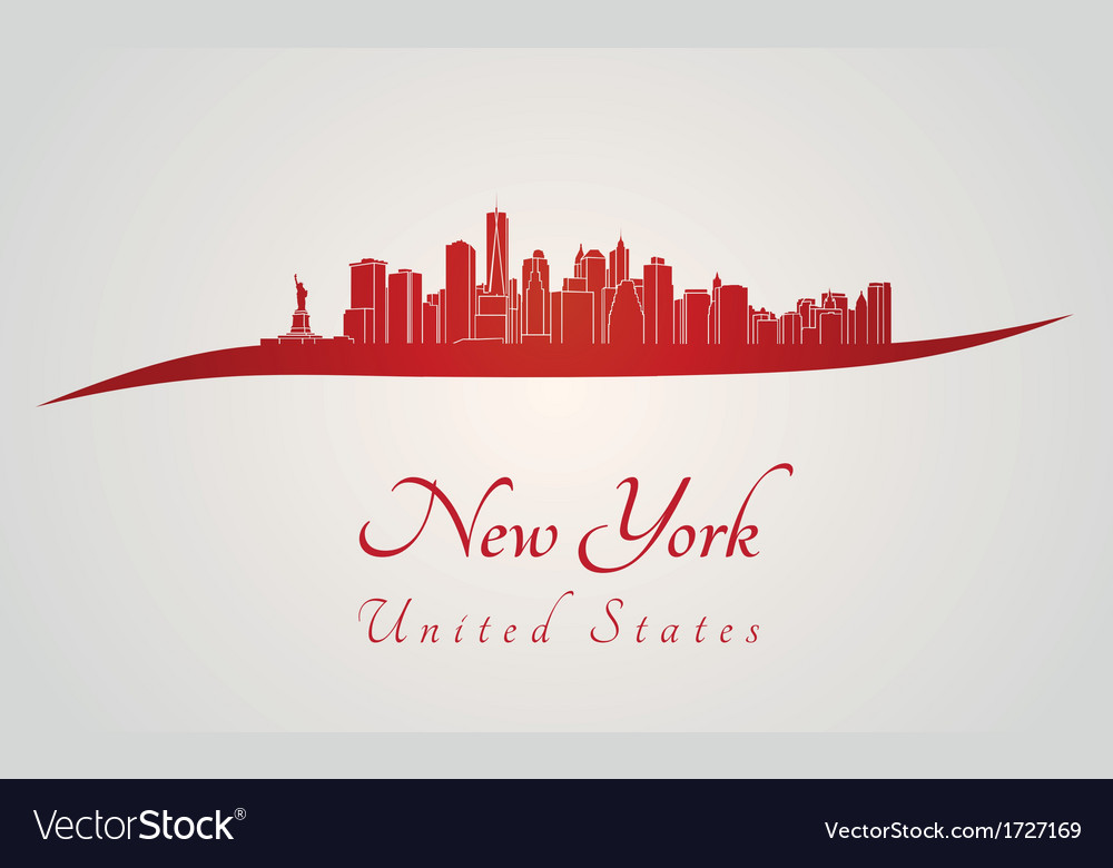 New york skyline in red vector | Price: 1 Credit (USD $1)