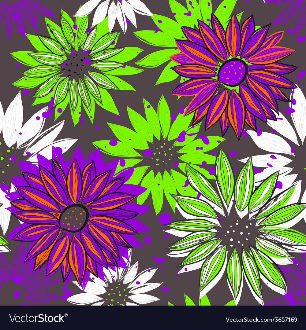 Seamless texture with bright flowers vector | Price: 1 Credit (USD $1)