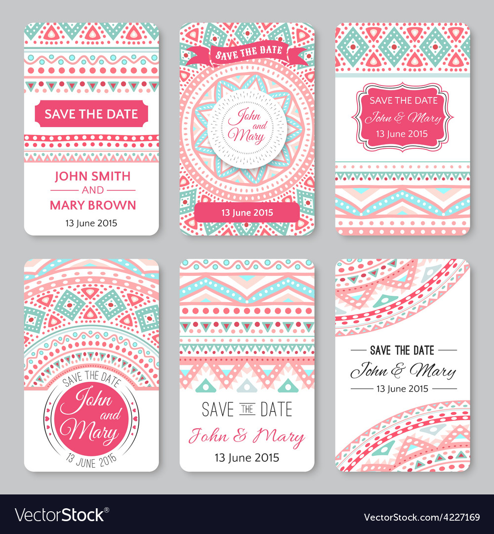 Set of perfect wedding templates with doodles vector | Price: 1 Credit (USD $1)