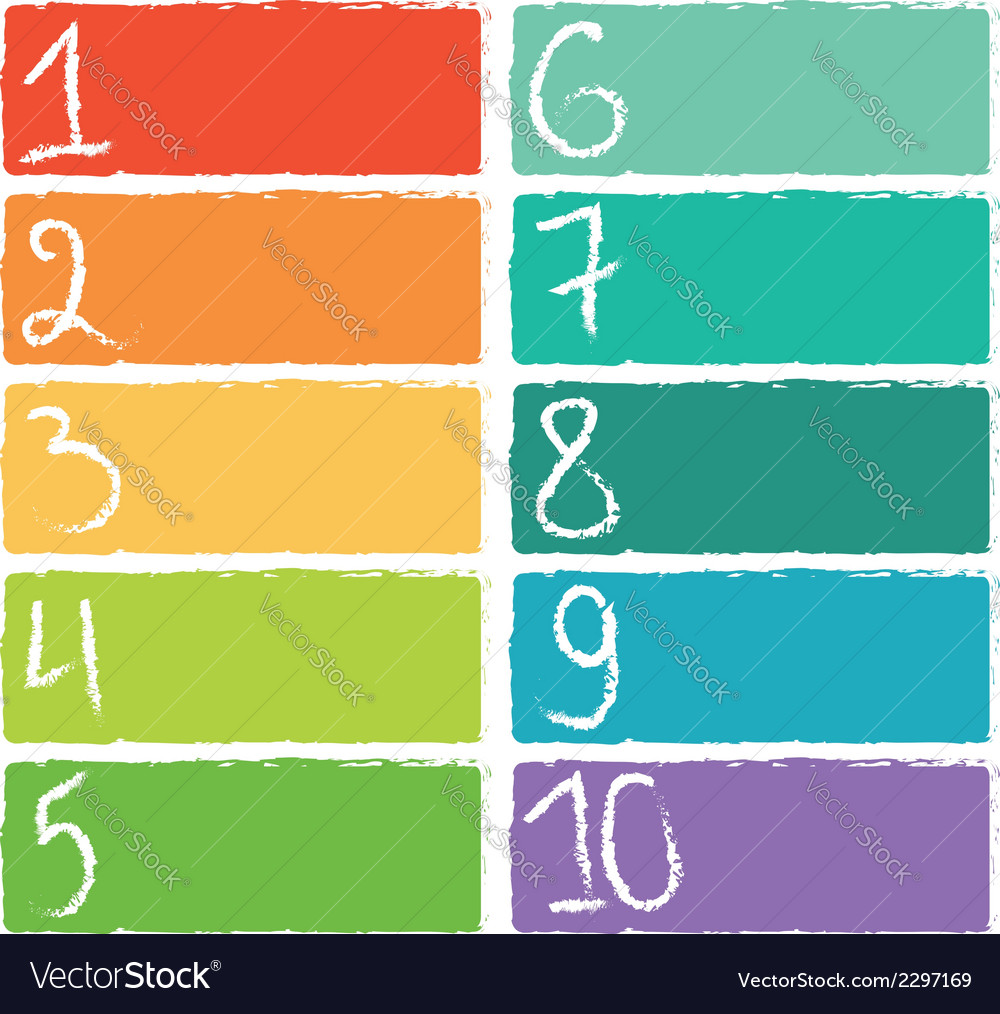 Set of ten colorful numerical rectangles vector | Price: 1 Credit (USD $1)