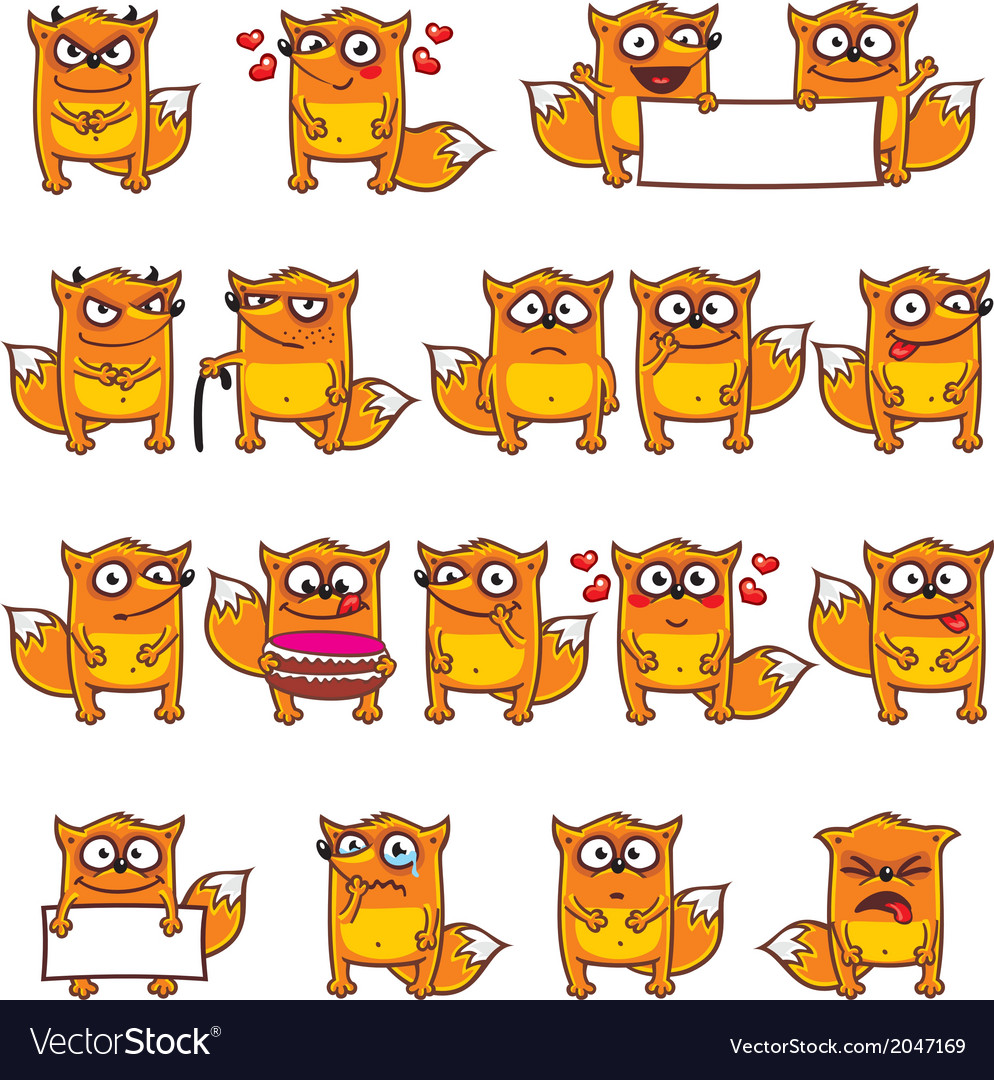 Smiley foxes vector | Price: 1 Credit (USD $1)