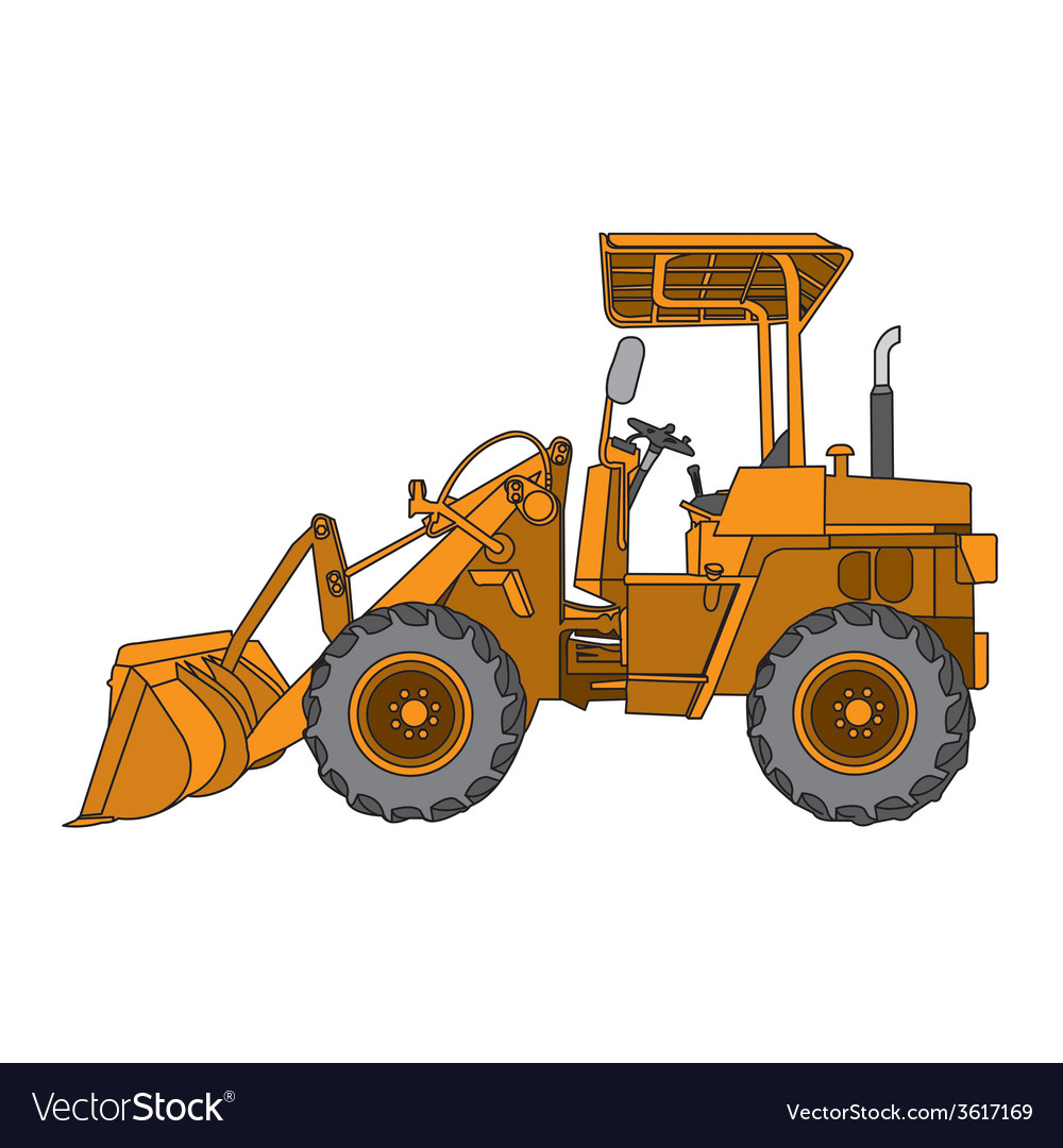 Yellow wheeled tractor vector | Price: 1 Credit (USD $1)
