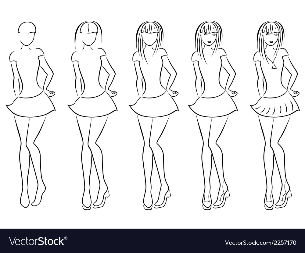 Attractive women contour in drawing sequence vector | Price: 1 Credit (USD $1)