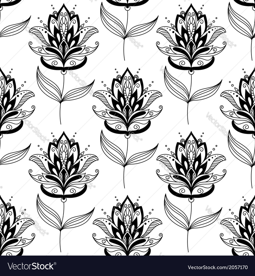 Black and white paisley floral pattern vector | Price: 1 Credit (USD $1)