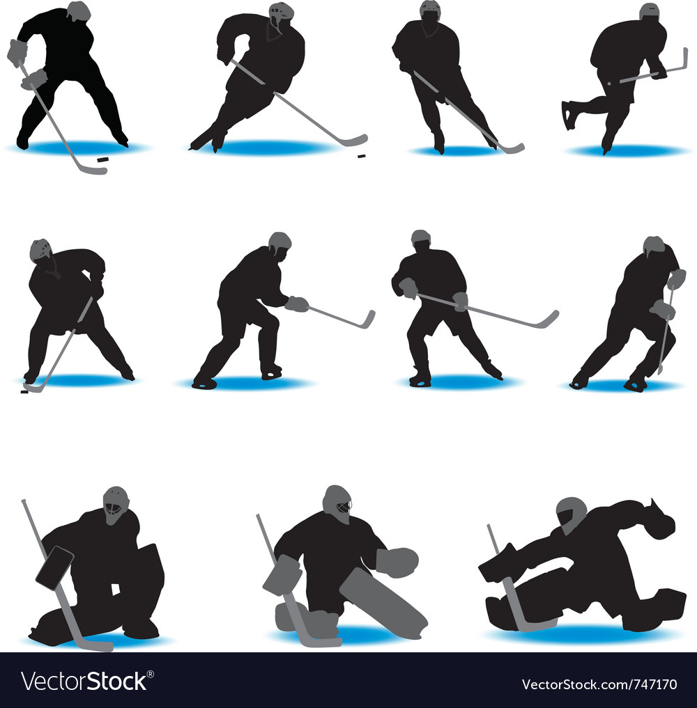 Hockey silhouettes vector | Price: 1 Credit (USD $1)