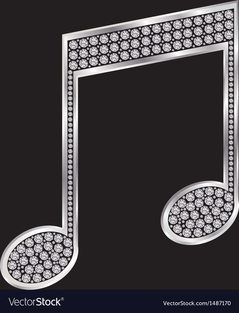Music note silver icon with diamonds vector | Price: 1 Credit (USD $1)