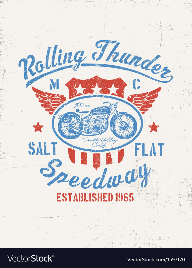 Rolling thunder vintage motorcycle graphic vector | Price: 1 Credit (USD $1)
