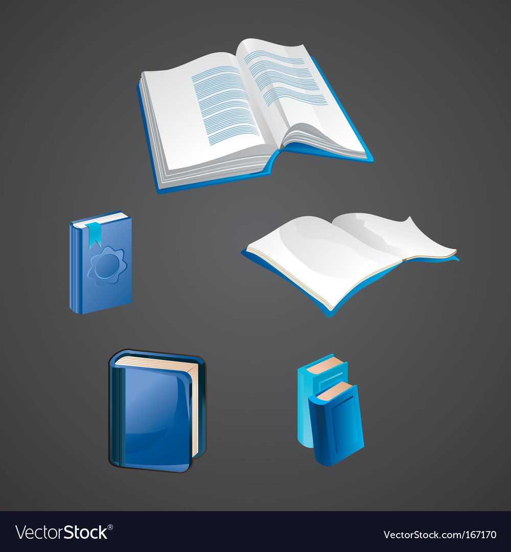 Set of book icons vector   Price: 1 Credit (USD $1)