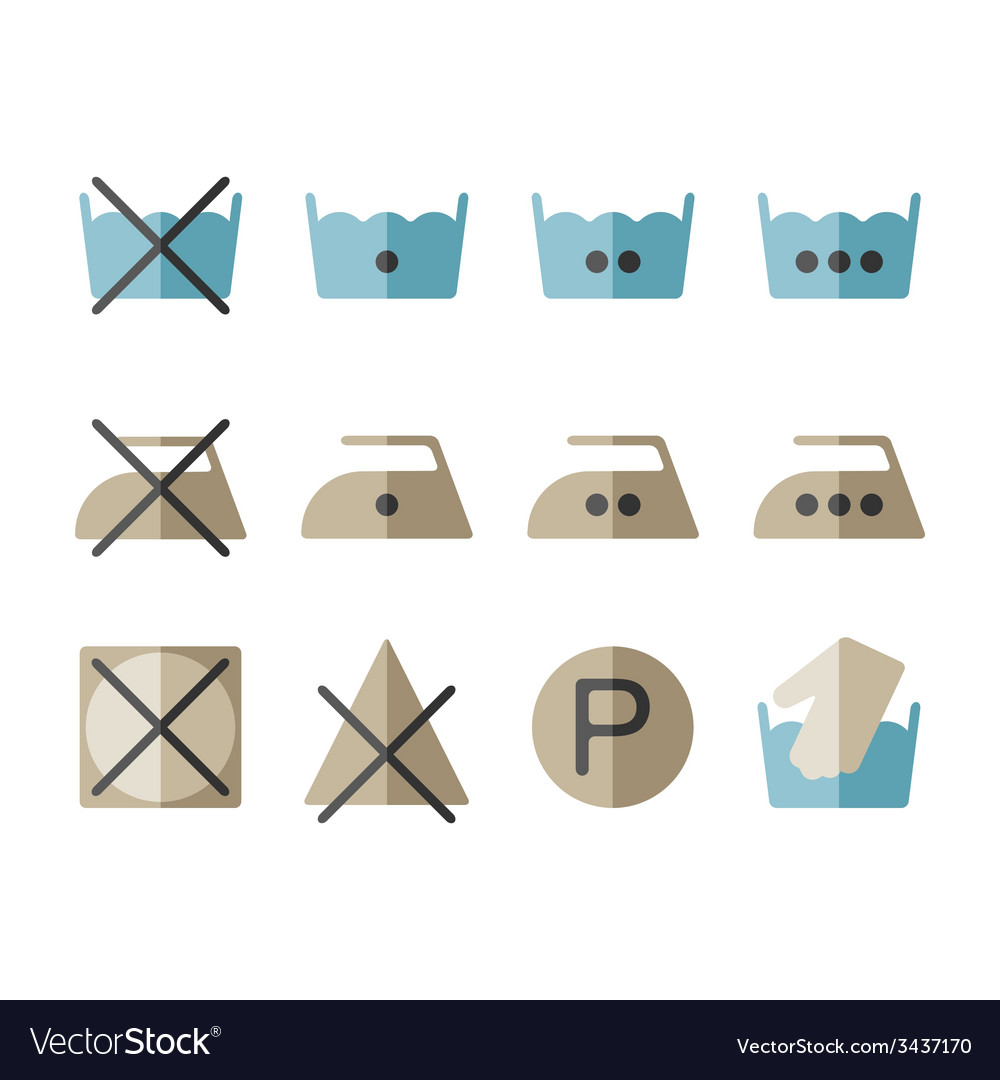 Set of instruction laundry icons washing symbols vector | Price: 1 Credit (USD $1)