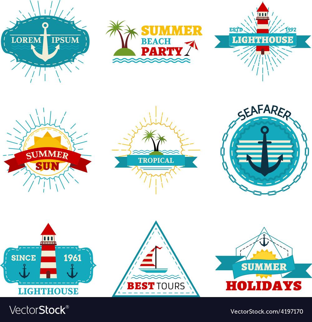Set of summer design elements vector | Price: 1 Credit (USD $1)