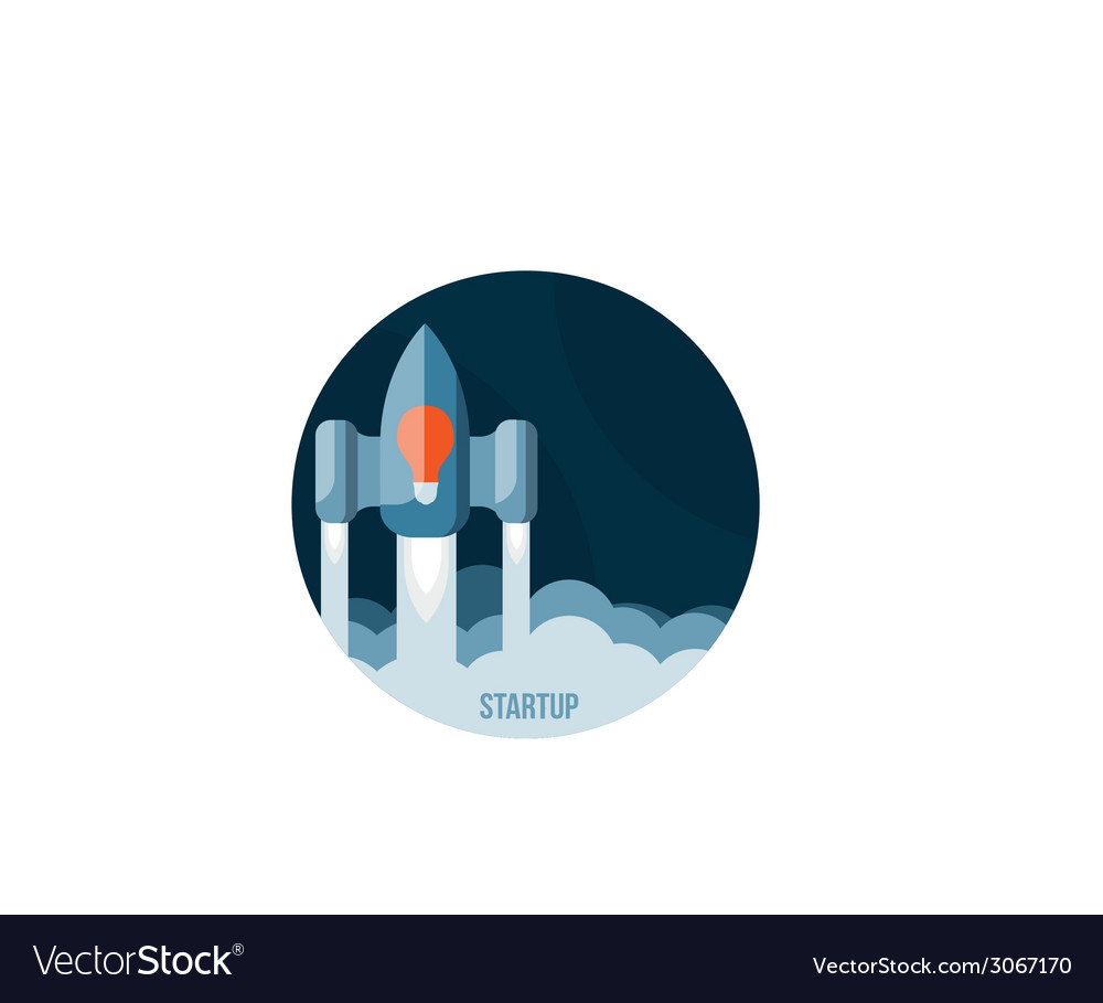 Space rocket flying in sky startup vector | Price: 1 Credit (USD $1)