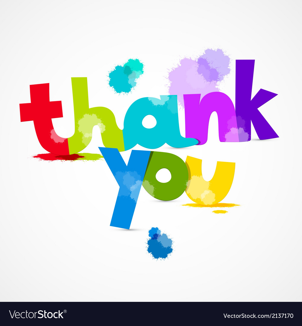 Thank you colorful title with splashes isolated on vector | Price: 1 Credit (USD $1)