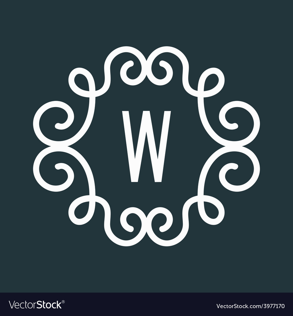 White vintage twirl frame for w letter vector | Price: 1 Credit (USD $1)