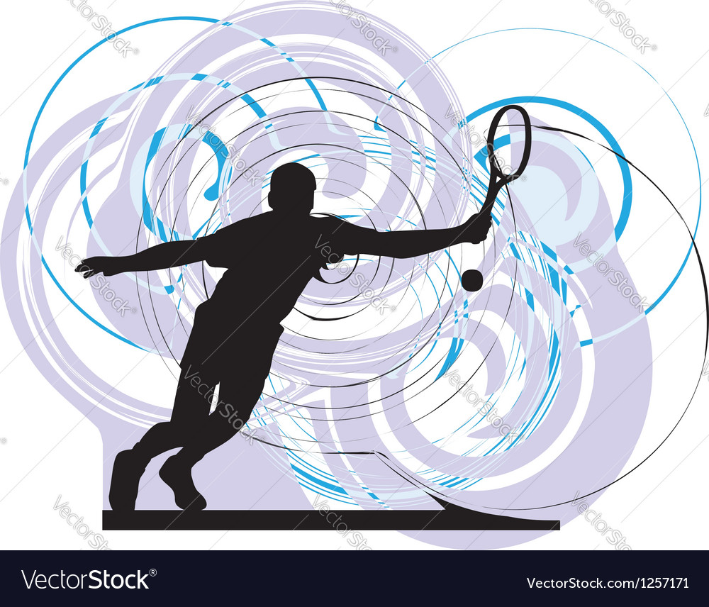 Drawing of man playing tennis vector   Price: 1 Credit (USD $1)