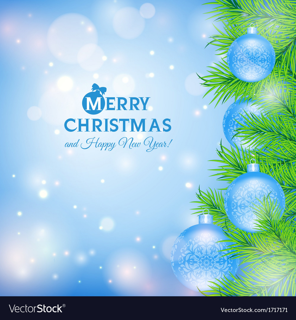 Greeting card with christmas tree and blue balls vector | Price: 1 Credit (USD $1)