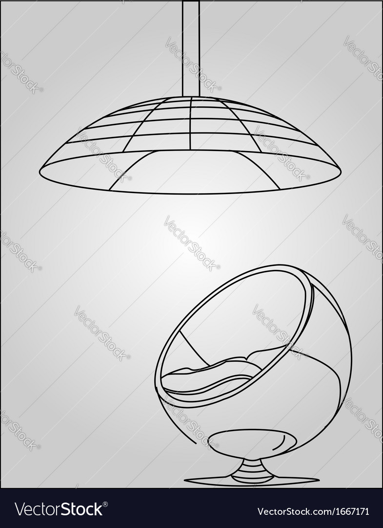 Interior design- egg chair with lighting vector | Price: 1 Credit (USD $1)