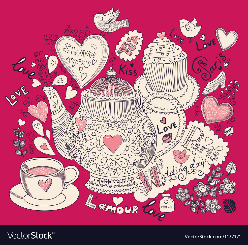 Love pattern with teapot vector   Price: 1 Credit (USD $1)