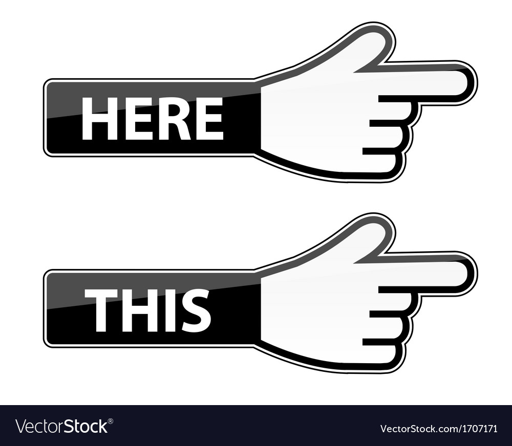 Mouse hand cursor this here pointer labels vector | Price: 1 Credit (USD $1)