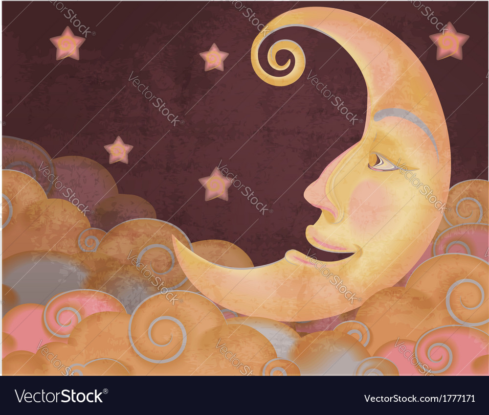 Retro style half moon clouds and stars vector | Price: 1 Credit (USD $1)