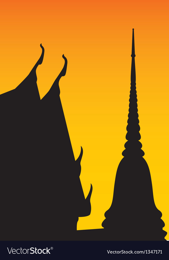 Silhouette of temple and pagoda vector | Price: 1 Credit (USD $1)