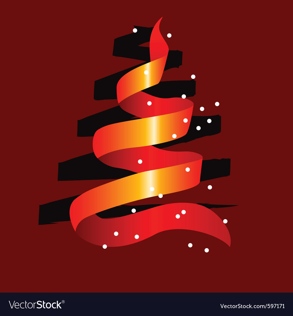 Stylized christmas tree made of red ribbon vector | Price: 1 Credit (USD $1)