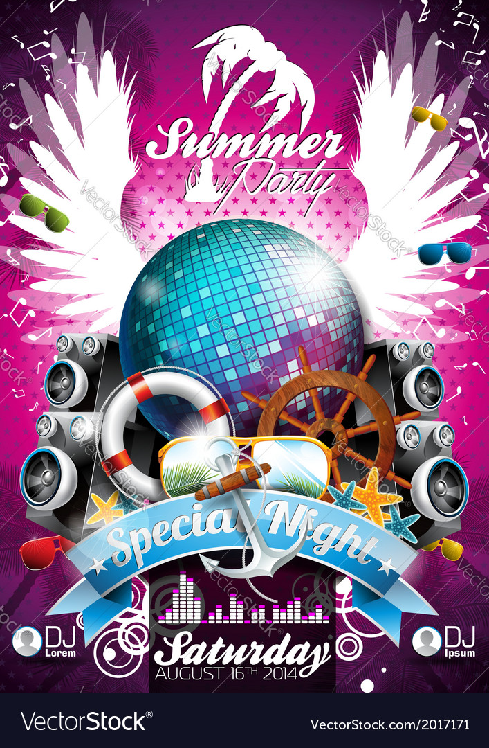 Summer beach party flyer design with disco ball vector | Price: 1 Credit (USD $1)