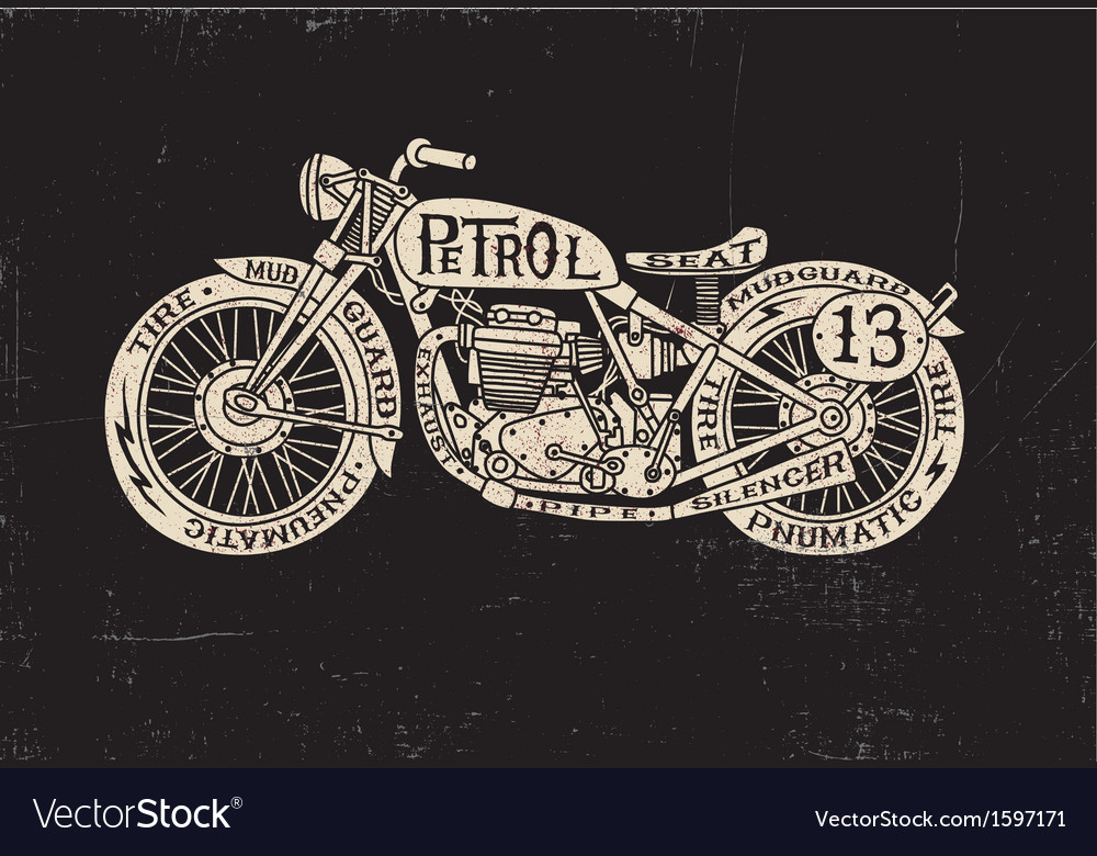 Text filled vintage motorcycle vector | Price: 1 Credit (USD $1)