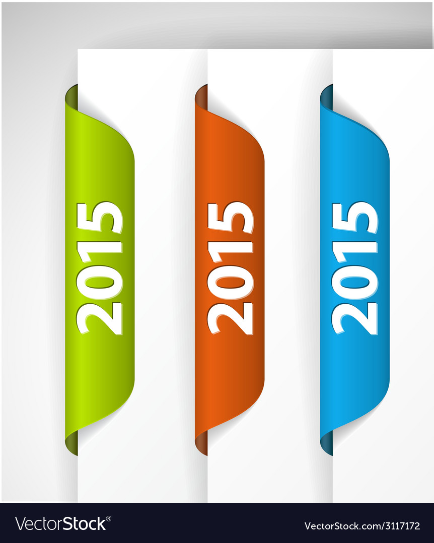 2015 labels stickers on the edge of the web page vector | Price: 1 Credit (USD $1)