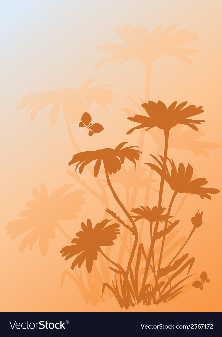 Background with silhouettes of daisies vector | Price: 1 Credit (USD $1)