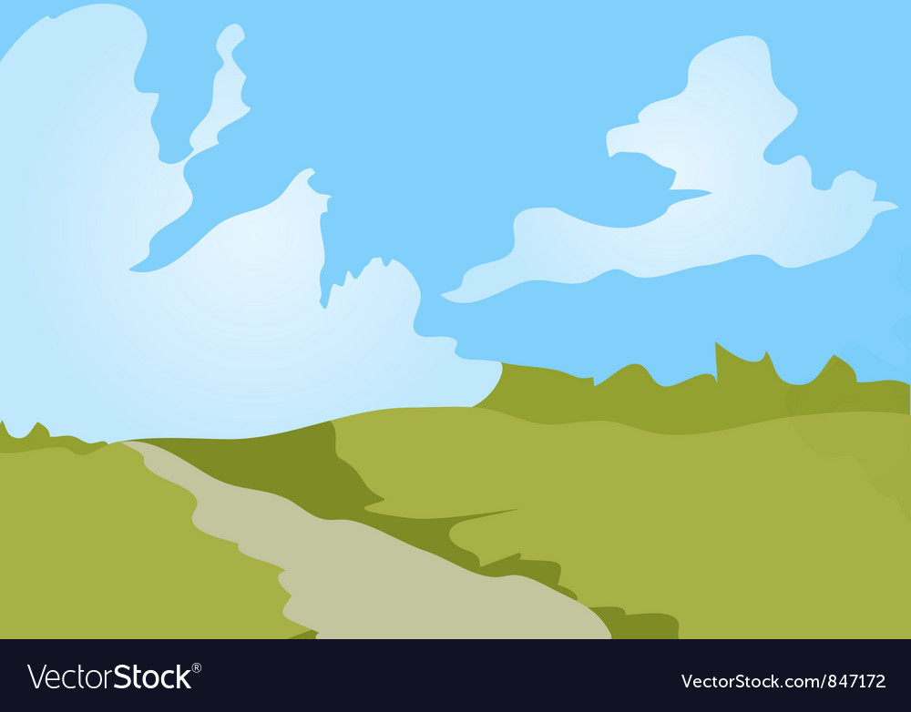 Cartoon landscape background vector | Price: 1 Credit (USD $1)