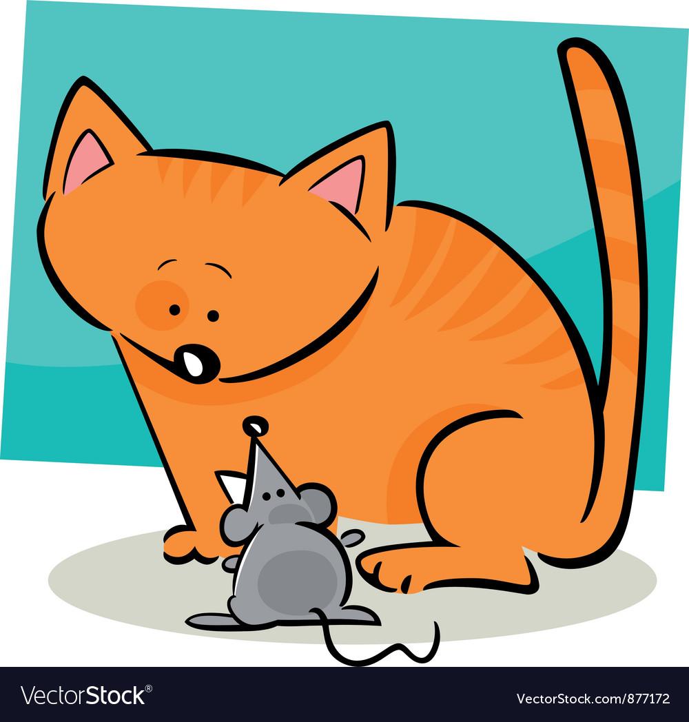 Cat and mouse vector | Price: 1 Credit (USD $1)