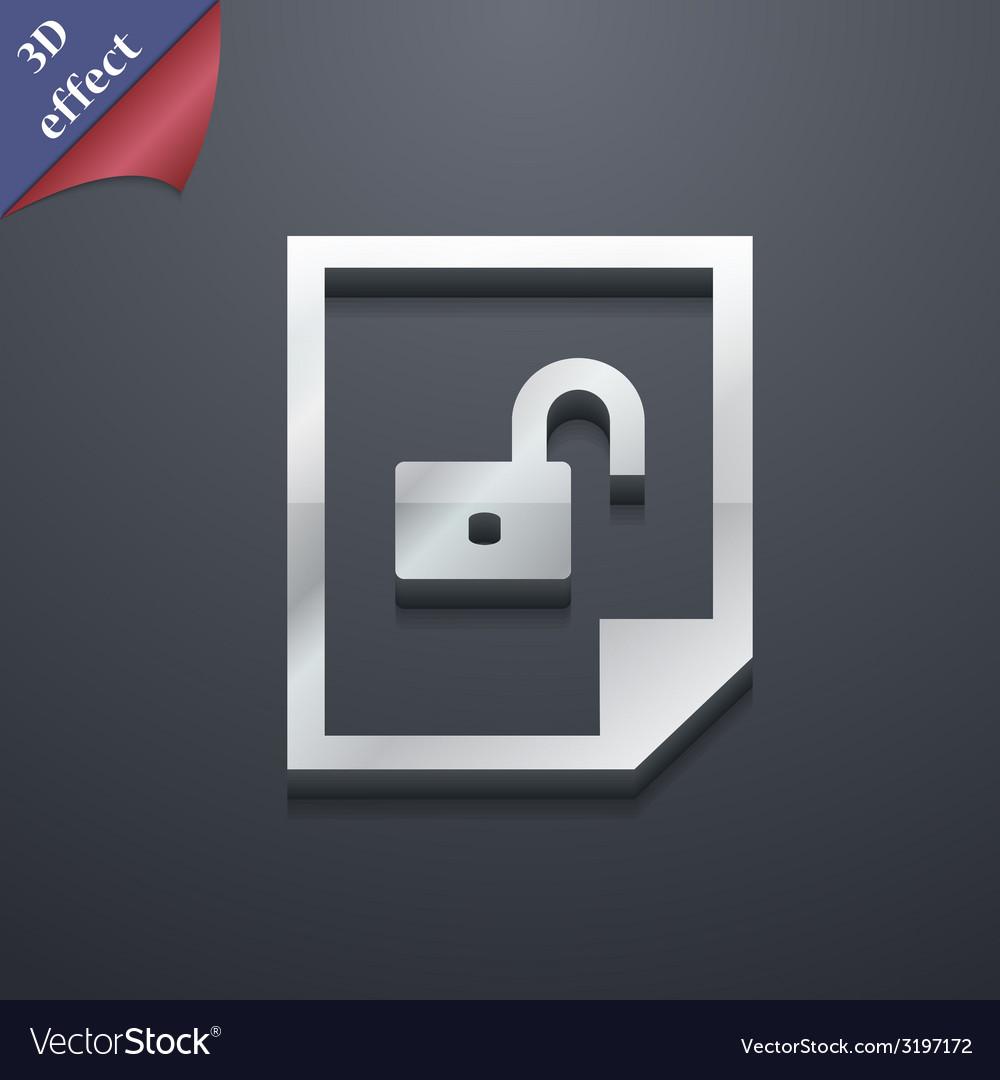 File unlocked icon symbol 3d style trendy modern vector | Price: 1 Credit (USD $1)