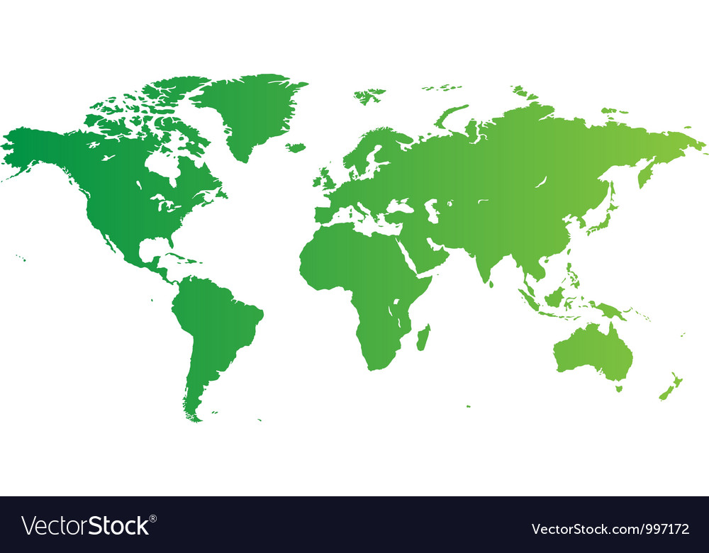 Green world map vector | Price: 1 Credit (USD $1)