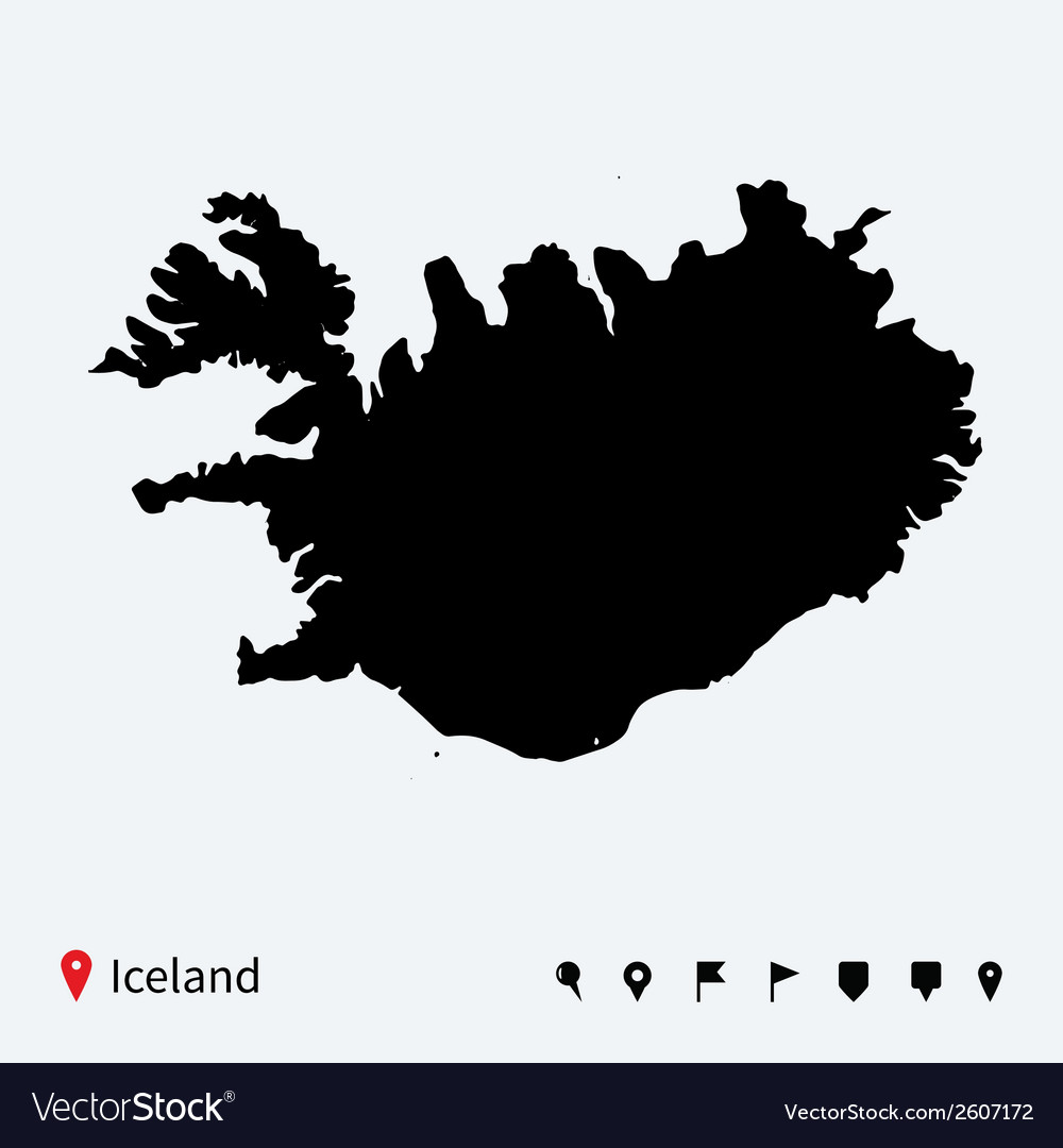 High detailed map of iceland with navigation pins vector | Price: 1 Credit (USD $1)